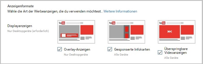 Monetarisierung Typen Youtube